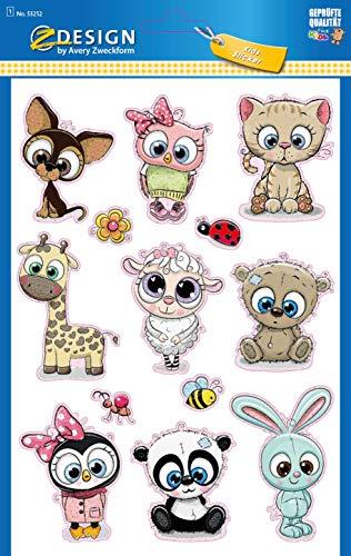 AVERY Zweckform Kinder Sticker 13 Aufkleber (extra groß, Tierbabies, mit...