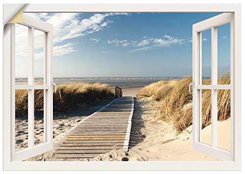 Artland Wandbild selbstklebend Vinylfolie 100x70 cm Fensterblick Fenster Strand...
