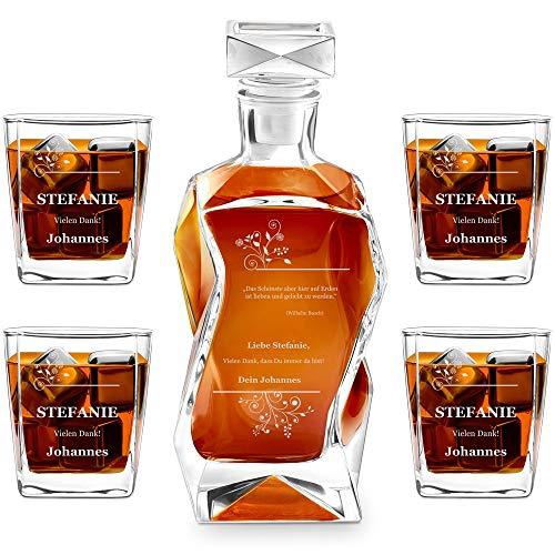 Murrano Whiskey Karaffe + 4er Whiskygläser Set mit Gravur - 700ml Whisky...
