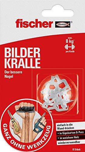 Fischer BILDER KRALLE, Bilderhaken in Weiß, Montage ohne Bohren & Werkzeug, der...