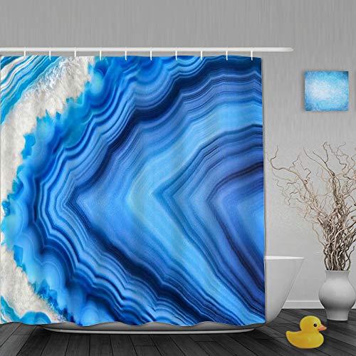 YACORESYA Duschvorhang,Mineral Amazing Blue Achat Kristall Mineralogie Abschnitt...