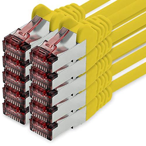 Cat6 Netzwerkkabel 1m gelb - 10 x Patchkabel LAN Cat 6 LAN Netzwerk Kabel Sftp...