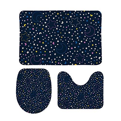 PICKIDS Badezimmerteppich, Nachthimmel, Sterne und Mond, rutschfest, 3-teiliges...