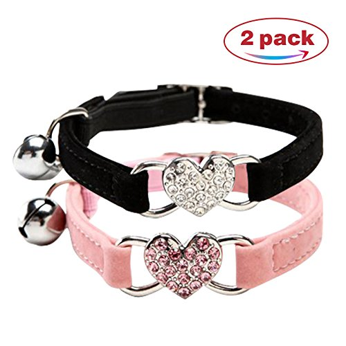CHUKCHI verstellbares Katzen-Halsband mit Glocke und Herzanhänger mit...