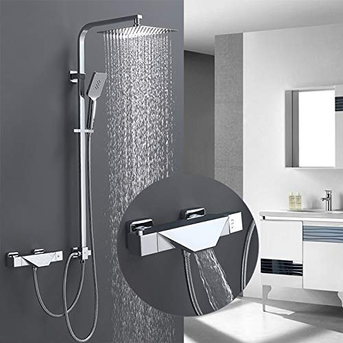 Homelody Trennbar Duschsystem mit Wasserfall Badewannenarmatur Thermostat...