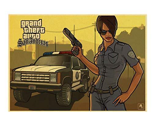 LGXINGLIyidian Grand Theft Auto 5 Spiel Kunst Retro Poster GTA 5 Wohnzimmer...