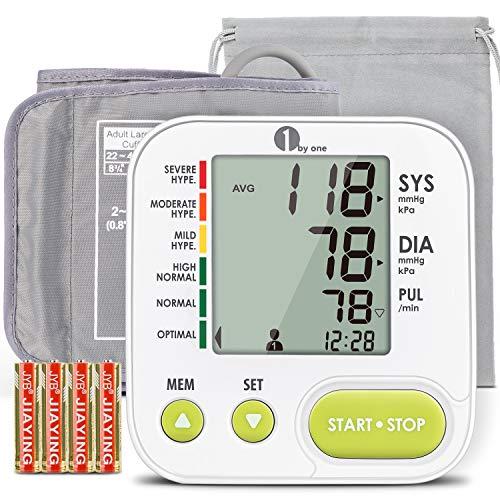 1byone Blutdruckmessgerät Oberarm große Manschette, Blutdruckmessgerät mit...
