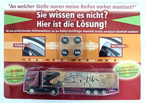 wuselwelt (547) 4 Stück Reifenmarkierung + Bonus Sammeltruck, Ventilkappen,...