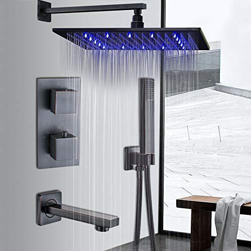 8'Öl eingerieben Bronze LED Regendusche Combo Set Thermostatventil Wannenhahn...