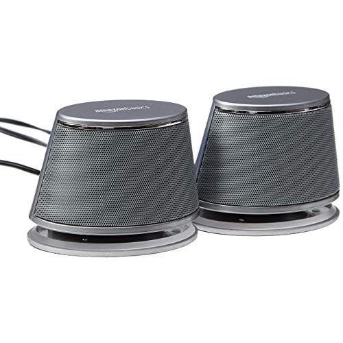AmazonBasics - PC-Lautsprecher mit dynamischem Sound, USB-Betrieb, Silber, 1...