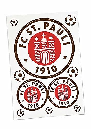 FC St. Pauli Aufkleberkarte 3er Set Logo farbig Aufkleber, Sticker - Plus...