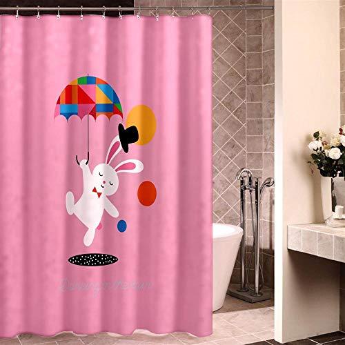 XTUK Home Decor Blau Rosa Gelb Einfach Niedlich Cartoon Waschbarer Badvorhang...