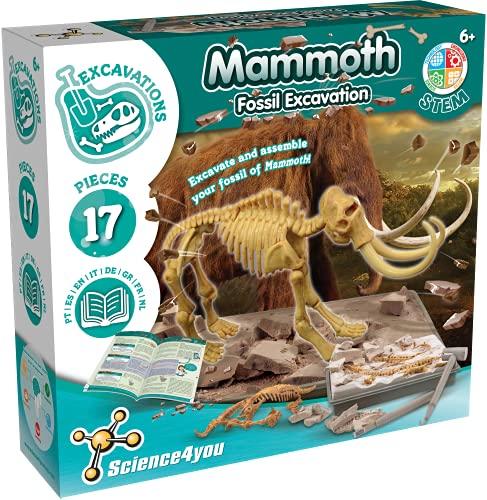 Science4you 80002267 Mammut Dino Ausgrabungsset Archäologie Set 17 Teilen, Grab...