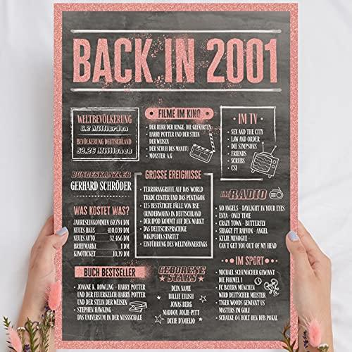 Holzbild Rosé Gold - Geschenk 20 Geburtstag 'Back in 2001' - personalisierbar...