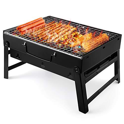 UTTORA Grill, Tragbarer Gefalteter Holzkohlegrill Tisch Outdoor Edelstahl Rauch...
