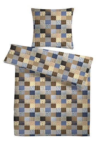 Seersucker Bettwäsche-Set 'Patchwork-Muster' 155 x 220 cm Blau, Bettdecke und...