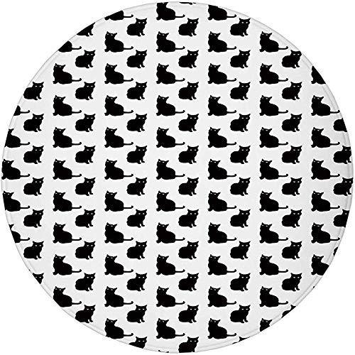 W-WEE Runder Teppich Matte Teppich, Katze, niedliche Schwarze Katzenfiguren auf...