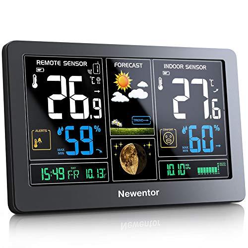 Newentor Wetterstation mit Außensensor Funk Multifunktionale Funkwetterstation...