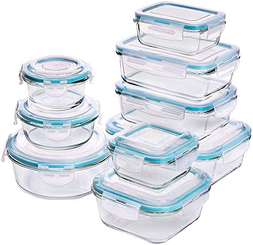 Glas-Frischhaltedosen 18 Stück [9 Behälter + 9 Deckel] - Glasbehälter -...