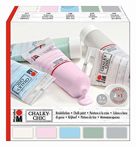 Marabu 0261000000087 - Chalky Chic Set mit 5x 100ml deckender, matter...
