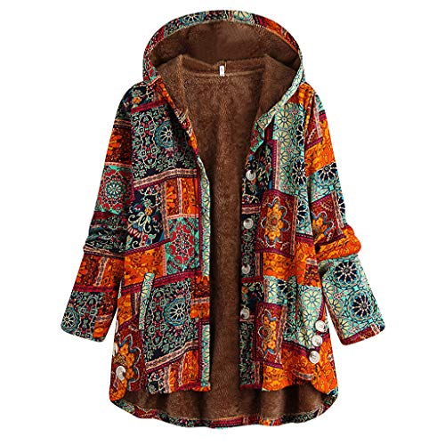 iHENGH Plus Size Women Winter Warm Vintage Floral Printed Thicker Button Coat...