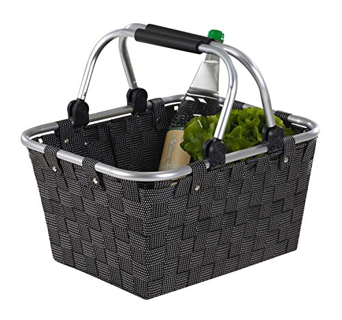 Home4You Einkaufskorb Einkaufstasche | Kunststoff geflochten | Schwarz | mit...