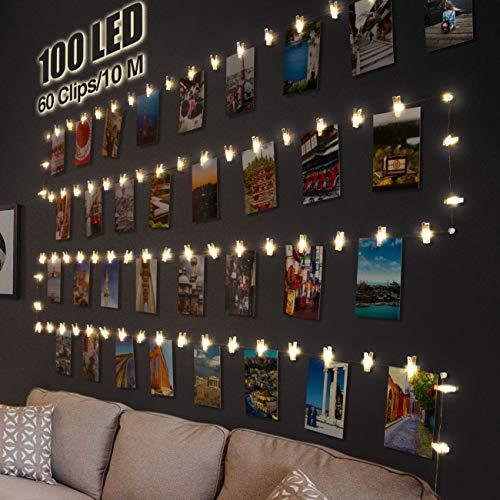LED Fotoclips Lichterkette für Zimmer Deko, Litogo 10M 100LED Lichterkette mit...