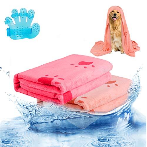 Bangcool 2PCS Pet Towel Paw Ultra-saugfähiges Hundehandtuch Hundebadetuch mit...