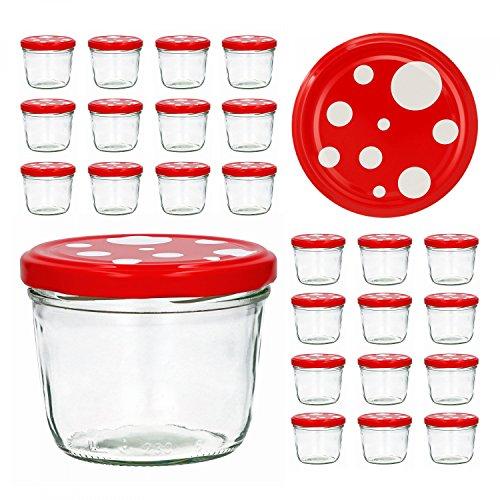 CapCro 25er Set Sturzglas 230 ml to 82 Fliegenpilz Deckel rot weiß gepunktet...