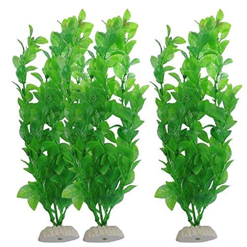 Huiouer Künstliches Gras für Aquarien, 3 Stück