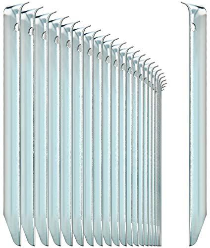 com-four® 24x Zelt-Heringe aus Stahl - halbrunde, robuste Erdnägel für...
