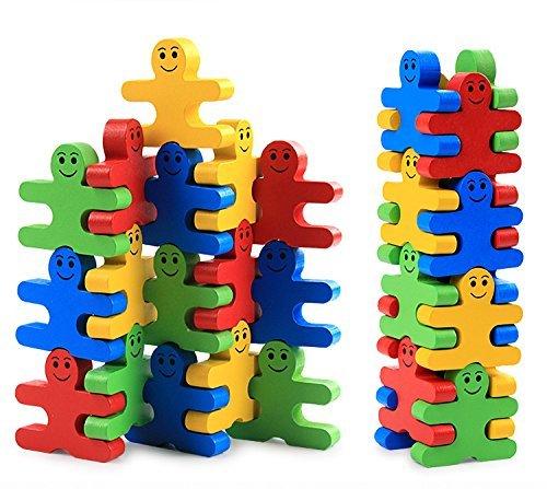 Pulchram 16-teiliges Stapelspielzeug aus Holz, Bausteine, Balance, Puzzle,...