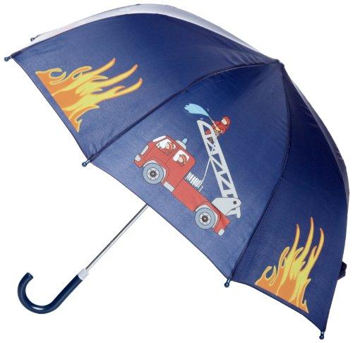 Playshoes Jungen Regenschirm Feuerwehr Regenmantel, Blau (Original),...