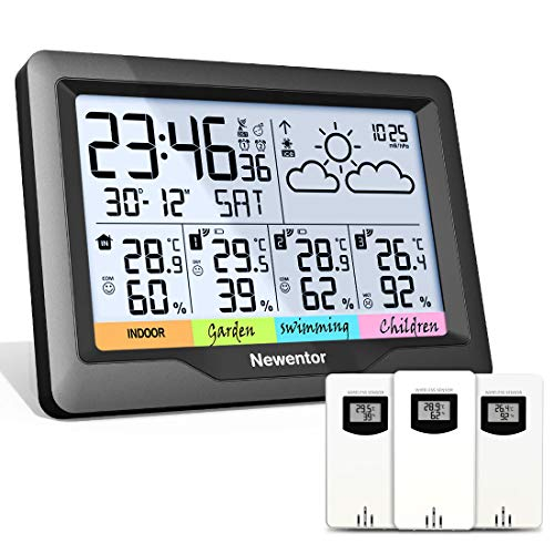 Newentor Wetterstation Funk mit 3 Außensensor Indoor Outdoor Thermometer...
