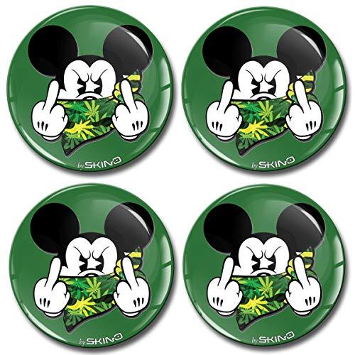 Biomar Labs 4 x 65mm Aufkleber 3D Silikon Mickey Mouse Micky Maus Mittelfinger...