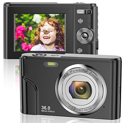Digitalkamera 1080P FHD Mini-Videokamera 36MP LCD-Bildschirm Wiederaufladbare...