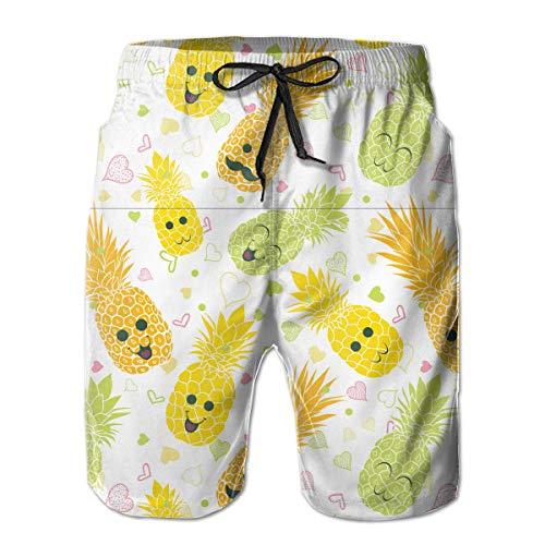 Happy Pineapple Faces Seamless Repeat Pattern Men's Summer Surf Swim Trunks...