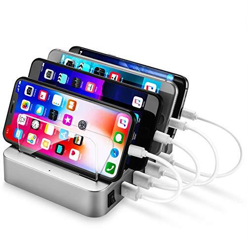 5 Port Universal Desktop Charger USB-Ladestation Organizer Dock Handy Telefon...
