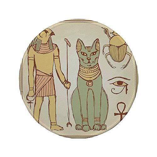 Rutschfreies Gummi-Rundmaus-Pad, ägyptisch, Grafik der altägyptischen...