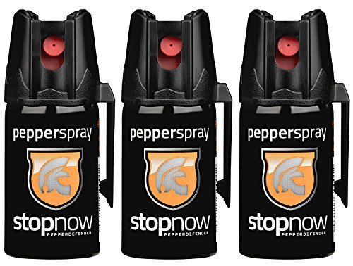stopnow Pfefferspray Abwehrspray KO-Spray Selbstverteidigung Jet-Sprühstrahl (3...