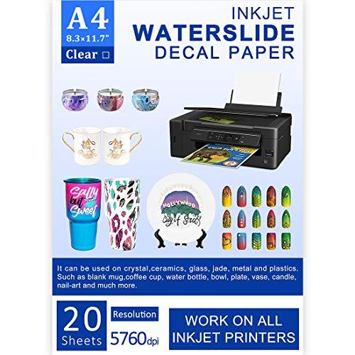 Wasserschiebe-Aufkleber-Papier, Inkjet, 20 Blatt, A4-Größe,...