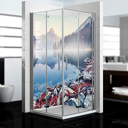 dedeco Eck-Duschrückwand wasserfest mit Berge V3 Motiv - 2 x 90x200 cm, als...
