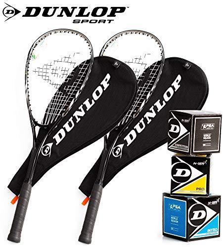 Dunlop Squashset: 2x Squashschläger BIOTEC LITE TI SILVER DELUXE + 2x...