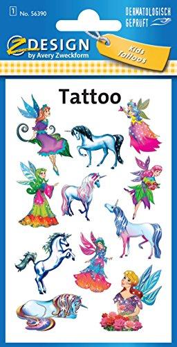AVERY Zweckform 56390 Tattoo Kinder 11 Stück (Temporäre Tattoos Elfen, Kinder...
