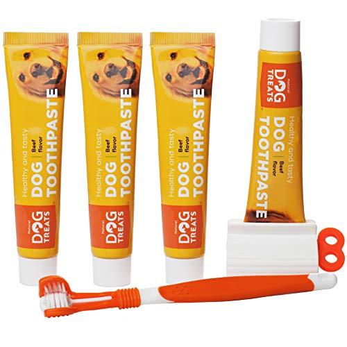 Natural Dog Treats Hundezahnbürste und 4X Zahnpasta Set für Hunde,...