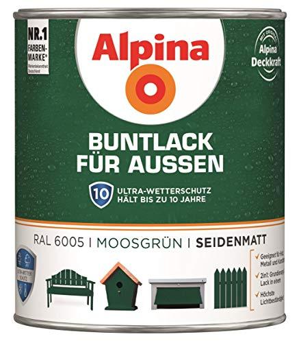 Alpina Buntlack Metalllack 0,75L moosgrün Ral 6005 seidenmatt Außen