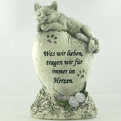 Katzen Deko Gedenkstein, Tiergrabstein Was wir lieben, tragen wir für immer im...