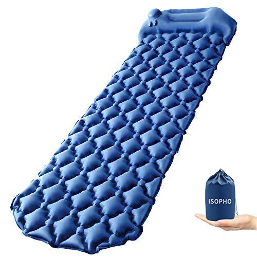 ISOPHO Isomatte Camping, Selbstaufblasende Handpresse Schlafmatte, Aufblasbare...