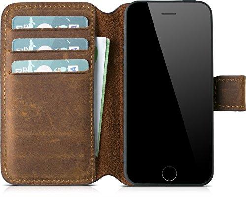 Blumax Handyhülle Echt Leder kompatibel mit iPhone 5 / 5s / SE als Leder Flip...