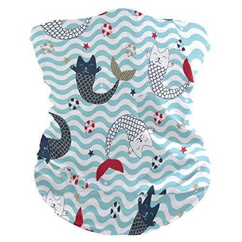 BUXI Printing 16-In-1 Sweatbands,Sea Waves Mer_Maid Kitty Katzenhalsband,...